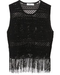 Camiseta sin manga de crochet сon flecos negra de A.L.C.