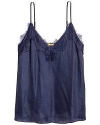 Camiseta sin manga de encaje azul marino