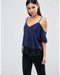 Camiseta sin Manga de Encaje Azul Marino de Asos