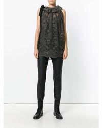 Camiseta sin manga de encaje en marrón oscuro de Uma Wang