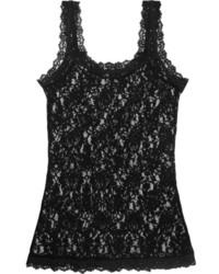 Camiseta sin manga de encaje negra