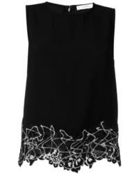 Camiseta sin manga de encaje negra de Versace