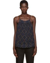 Camiseta sin manga de gasa azul marino de Etoile Isabel Marant