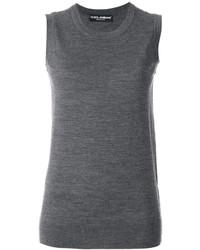 Camiseta sin manga de lana de punto en gris oscuro de Dolce & Gabbana