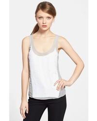 Camiseta sin Manga de Lentejuelas Blanca