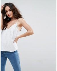 Camiseta sin Manga de Lentejuelas Blanca de Asos