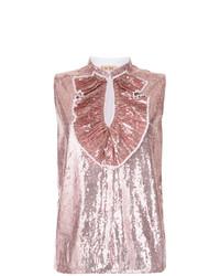 Camiseta sin manga de lentejuelas rosada de N°21