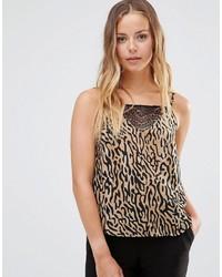 Camiseta sin manga de leopardo marrón claro