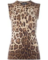 Camiseta sin manga de leopardo marrón claro de Dolce & Gabbana
