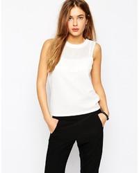 Camiseta sin manga de malla blanca de Vero Moda