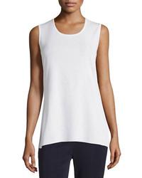Camiseta sin manga de punto blanca