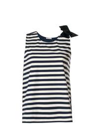 Camiseta sin manga de rayas horizontales azul marino de Moncler