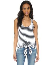Camiseta sin manga de rayas horizontales blanca