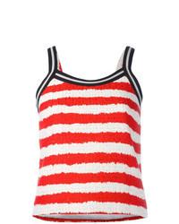 Camiseta sin manga de rayas horizontales en blanco y rojo