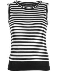 Camiseta sin manga de rayas horizontales en negro y blanco de Ermanno Scervino