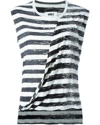 Camiseta sin manga de rayas horizontales en negro y blanco de MM6 MAISON MARGIELA
