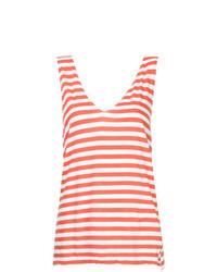 Camiseta sin manga de rayas horizontales roja