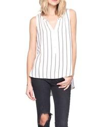 Camiseta sin manga de rayas verticales en blanco y negro