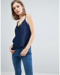 Camiseta sin manga de seda azul marino de Asos