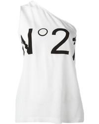 Camiseta sin manga de seda blanca de No.21