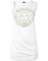 Camiseta sin manga de seda blanca de Versace
