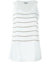Camiseta sin manga de seda con adornos blanca de Brunello Cucinelli