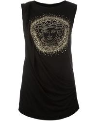 Camiseta sin manga de seda con tachuelas negra de Versace