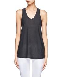 Camiseta sin manga de seda en gris oscuro