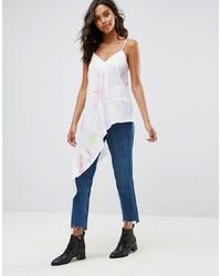 Camiseta sin manga de seda estampada blanca de ASOS DESIGN