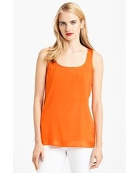 Camiseta sin manga de seda naranja