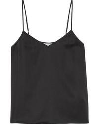 Camiseta sin manga de seda negra