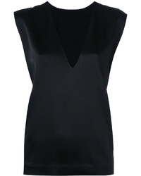 Camiseta sin manga de seda negra de Haider Ackermann