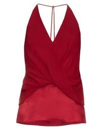 Camiseta sin manga de seda roja