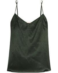 Camiseta sin manga de seda verde oscuro