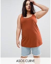 Camiseta sin manga en tabaco de Asos