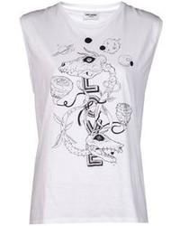 Camiseta sin manga estampada en blanco y negro de Saint Laurent