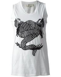 Camiseta sin manga estampada en blanco y negro de Stella McCartney
