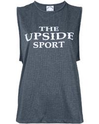 Camiseta sin manga estampada en gris oscuro