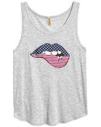 Camiseta sin manga estampada gris