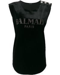 Camiseta sin Manga Estampada Negra de Balmain