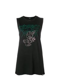 Camiseta sin Manga Estampada Negra de Diesel