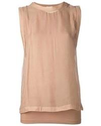 Camiseta sin manga marrón claro