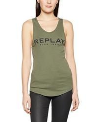 Camiseta sin Manga Verde Oliva de Replay