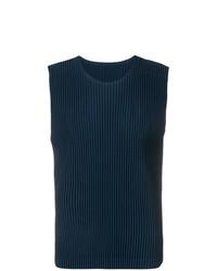 Camiseta sin mangas azul marino de Homme Plissé Issey Miyake