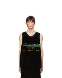 Camiseta sin mangas bordada negra de Gucci