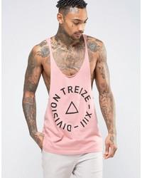 Camiseta sin mangas con estampado geométrico rosada de Asos