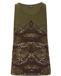 Camiseta sin mangas de camuflaje verde oliva