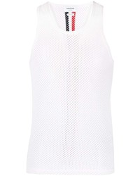 Camiseta sin mangas de malla blanca de Thom Browne