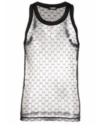 Camiseta sin mangas de malla estampada negra de DSQUARED2