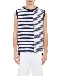 Camiseta sin mangas de rayas horizontales en blanco y azul marino